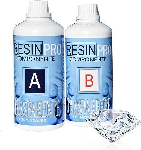 800 gr de résine époxy ultra transparente non toxique - résine + durcisseur, effet eau pour créations artistiques, re...