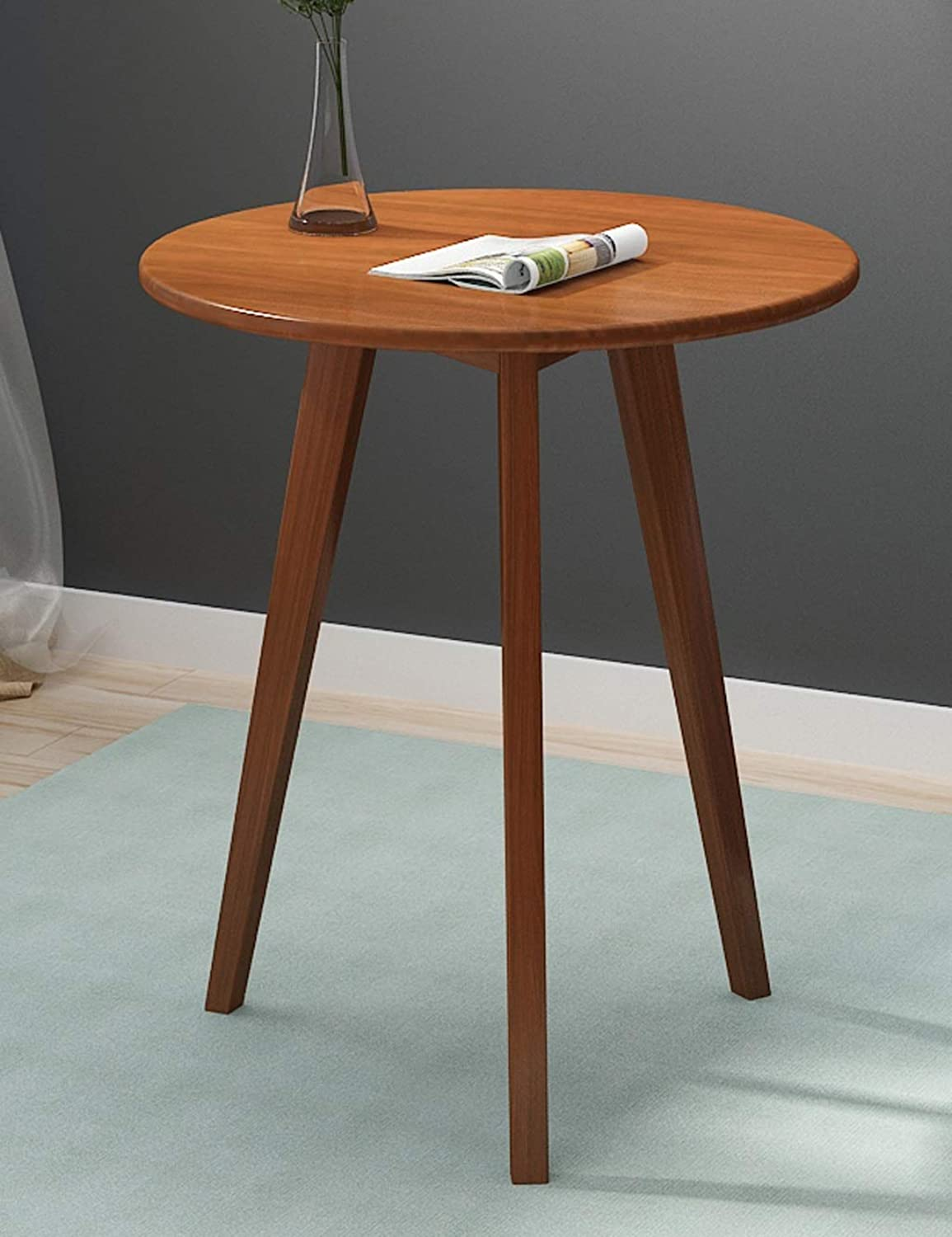 Small Round Table, Simple Mini Bedroom Home Small Coffee Table, Solid Wood Negotiation Small Table