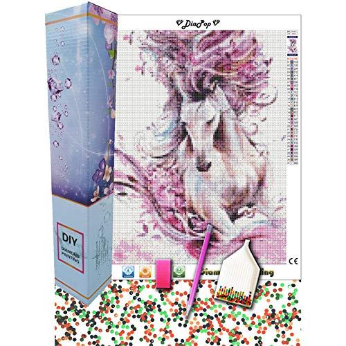 DIAPOP Kit completo de pintura de diamante 5D, 31 colores, piedras redondas, 30 x 40 cm, caballo rosa