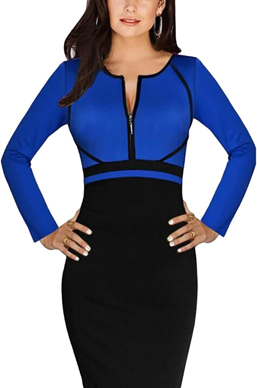 Women's Long Sleeve DeepV Neck Bodycon Business Party Work Pencil Dress