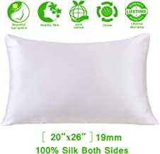 Mulberry Silk Pillowcase for Hair and Skin,Satin Pillowcase,Silk Pillow Case&100% Pure Natural 19 Momme 6A Slip Satin Silk Pillow Case Cover Hair Silk Pillowcase Standard with Zipper for Women White