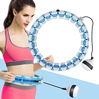 Adust Exercise Hoop, 2 in 1 Abdomen Fitness Exercising Equipment, Weight Loss Massager, Non-Fall Fitness Ring with 24 Deta...