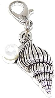 GemStorm Silver Plated Dangling Seashell with Imitation Pearl Clip On Lobster Clasp Charm