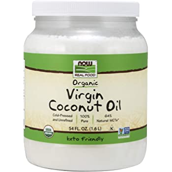 NOW Foods, Certified Organic Virgin Coconut Cooking Oil, Cold-Presesed and Unrefined, Trans Fat Free, 100% Pure and Certified Non-GMO, 54-Ounce