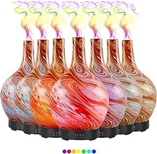 ディフューザーエッセンシャルオイル (100ml)-3 d アートガラスサンゴ海アロマ加湿器7色の変更 LED ライト & 4 タイマー設定、水なしの自動シャットオフ