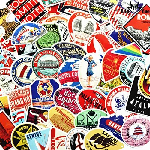 HHSM Pegatinas europeas y americanas para equipaje de viaje, comercio exterior, equipaje, vintage hotel, pegatinas nostálgicas, 100 unidades