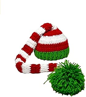 Eyourhappy Christmas Green Red Crochet ELF Long Tail Pom-pom Hat for Baby Toddlers