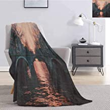 Landscape Rugged or Durable Camping Blanket Evening in Amsterdam Netherlands Scandinavian Aurora Borealis River Bridge Image Warm and Washable W70 x L90 Inch Pink Grey