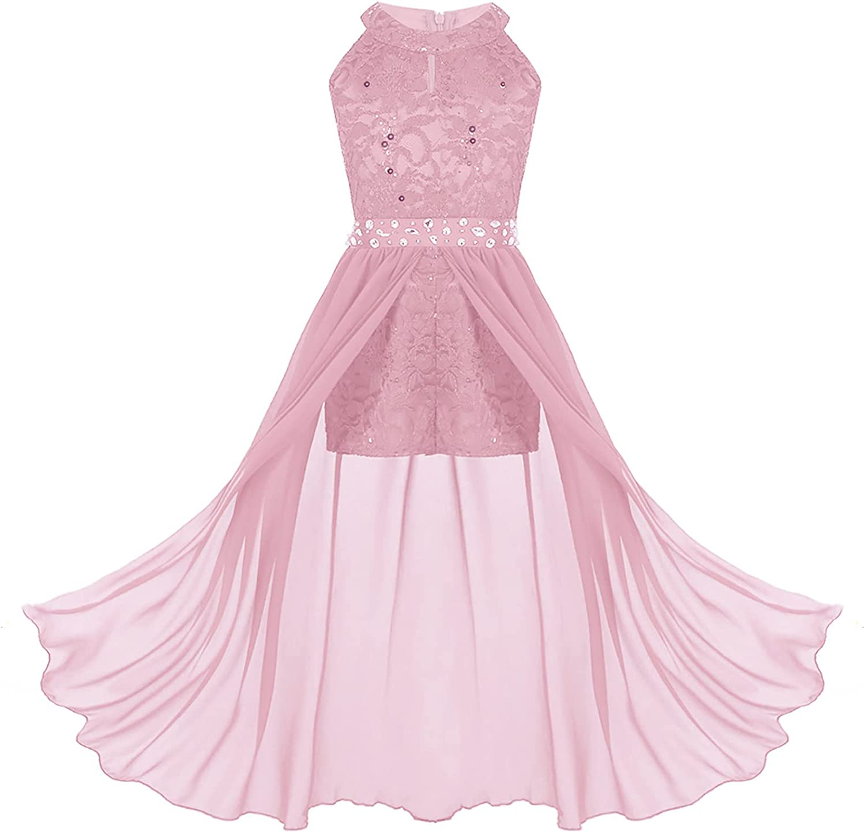 Haitryli Kids Girls Sleeveless Sequins Romper Dress Maxi Skirted Flower Girls Wedding Pageant Dance Gown