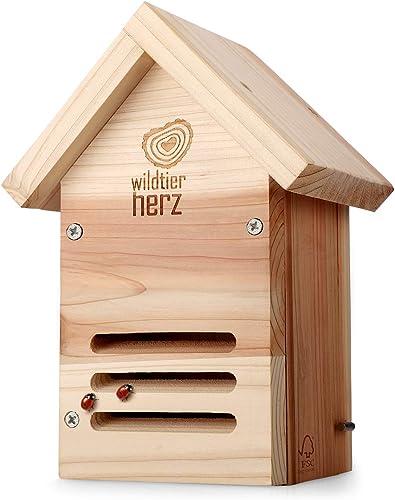 wildtier herz Hôtel à Coccinelle en Bois - Imperméable et Résistant aux Intempéries, Maison Insectes, sur Pied, Hôtel...