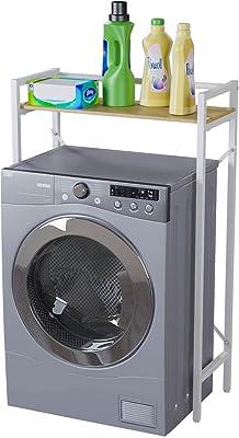 洗濯機上ラック ランドリー収納 洗濯機ラック 洗濯機に対応 可動棚 掛ける収納 ぐらつき防止 棚 収納 組立品 省スペース 各層の耐荷重は15kgです シンプル 幅63.5cm×奥行28cm×高さ101cm ホワイト