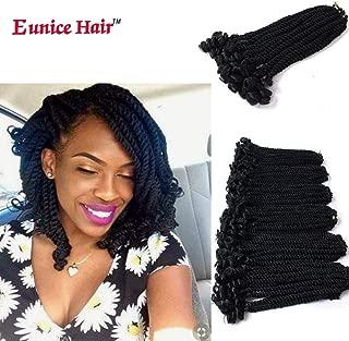 Eunice 6 Packs 12 Inch Black Crochet Hair Braids Short Havana Mambo Twist Crochet Braiding Hair Senegalese Twists Hairstyles For Black Women 20 Strands/Pack (#1B)