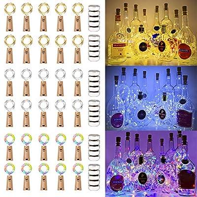 MUMUXI 30 Pack 20 LED Wine Bottle Lights with Cork