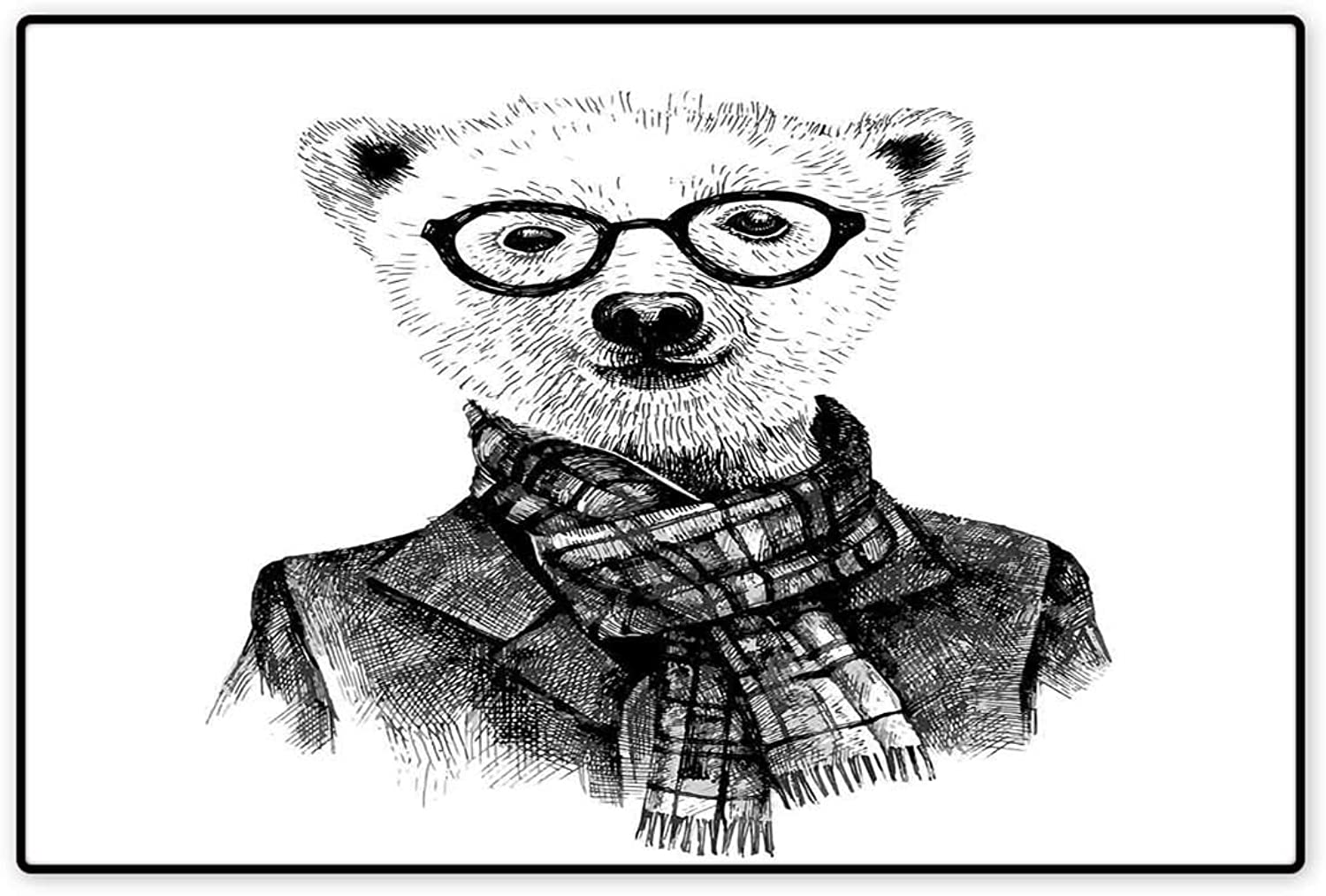 Animal Floor Mat for Kids Hand Drawn Monochrome Sketch Style Hipster Bear with Jacket Scarf Glasses Floor Mat Pattern 32 x48  Black Grey and White