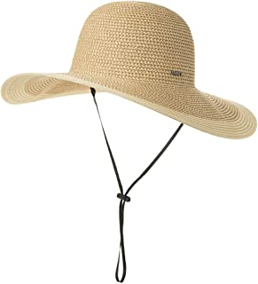 SiggiHat Comhats Packable UPF Straw Sunhat Women Summer Beach Wide Brim Fedora Travel Hat 54-59CM - Beige - Medium