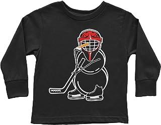Threadrock Little Boys' Hockey Snowman Toddler Long Sleeve T-Shirt