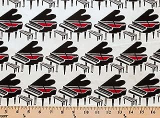 Cotton Piano Baby Grand Pianos Music Musical Pianist Cream Cotton Fabric Print by The Yard (hoodie-c8379-cream)