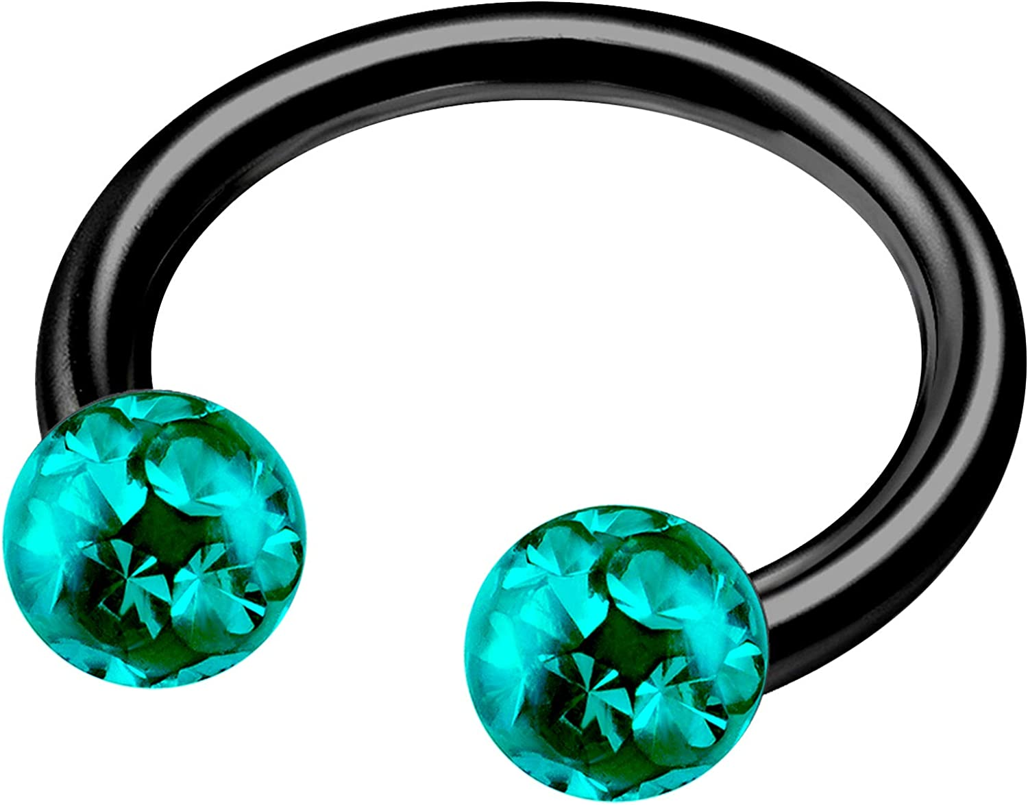 MATIGA Anodized Titanium 5/16 8mm 14g Horseshoe Earrings Piercing Jewelry Eyebrow Nose Tragus Rook 4mm Ferido Crystal More Choices
