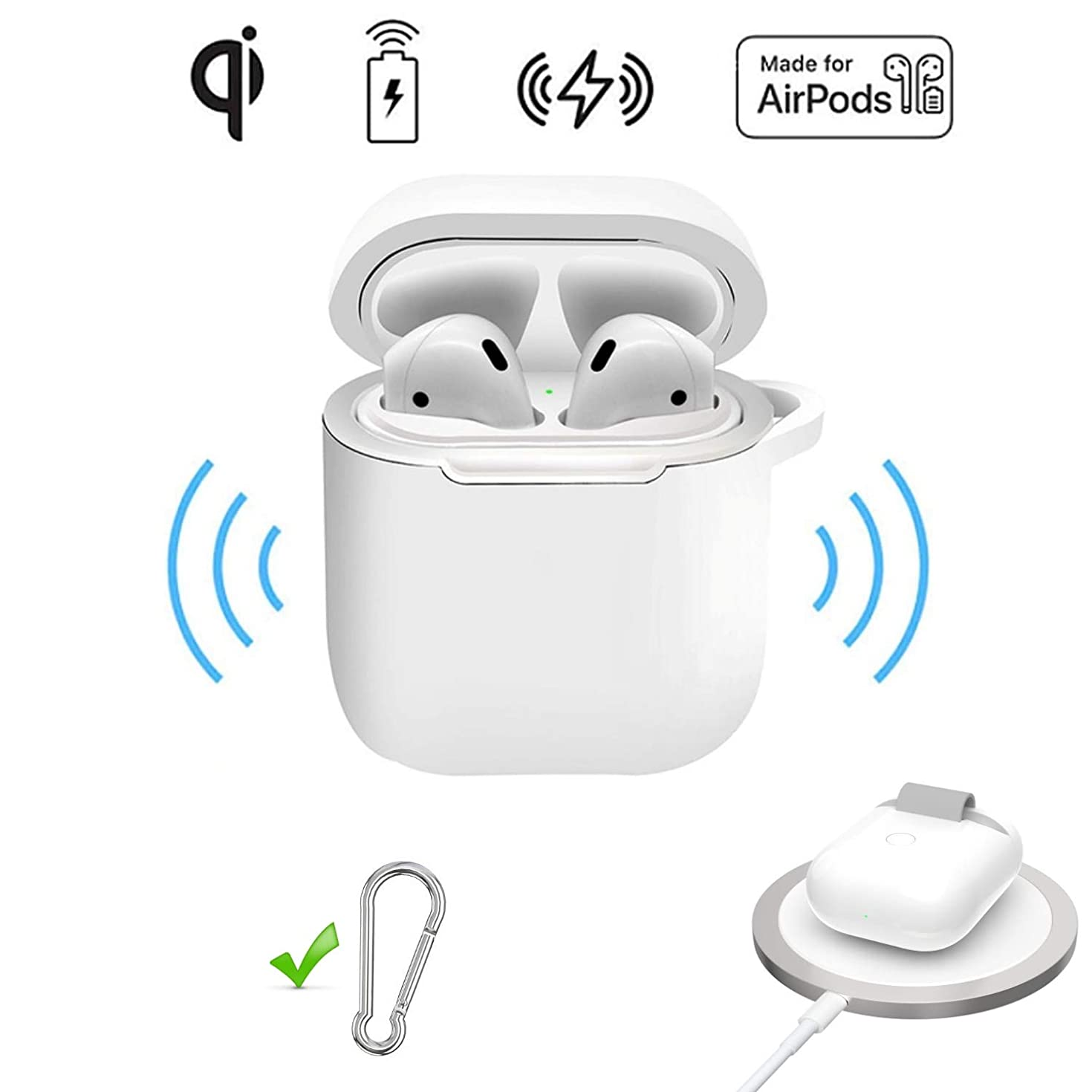 2 in 1 case for Apple Airpods Wireless Charging case and Protective case Compatible with Any Qi Wireless Charger pad, White with Keychain