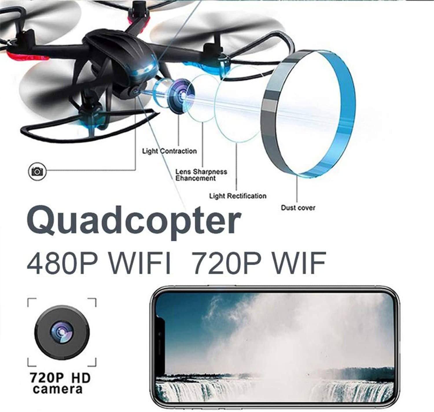 Drone with Carrying Case,Wireless RC Quadcopter Drone with 120 Degree WideAngle 720P HD Camera Altitude Hold