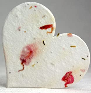 Large Pink Heart Shape Seed Embedded Larkspur Handmade Paper Tags #24s