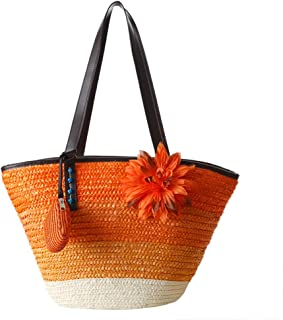 RONSHIN Ladies Colorful Stripe Flower Beach Bag Bohemian Straw Woven Bag with Mini Bag