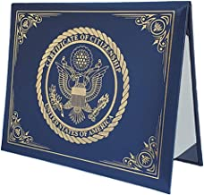 Best U.S. Citizenship and Naturalization certificate padded holder with cover. Gold American Eagle logo