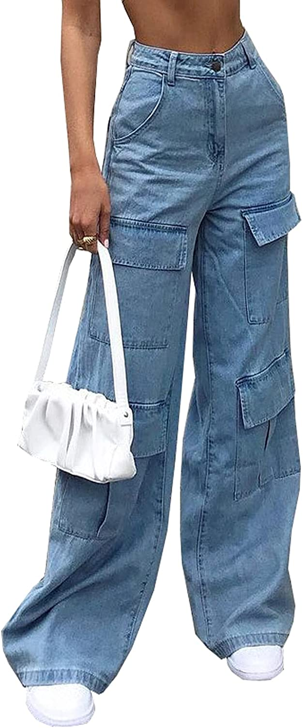 Women's High Waist Baggy Jeans Flap Pocket Relaxed Fit Straight Wide Leg Y2K Fashion Cargo Jeans