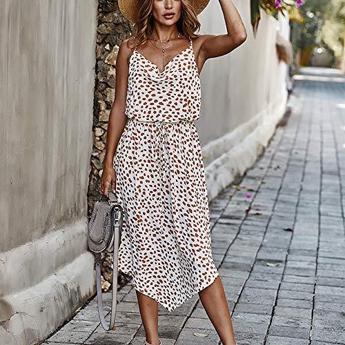 Damen-Sommerkleid, Strapskleid, V-Ausschnitt, unregelmäßiger Saum, Rock, Party, baumwolle, weiß, M