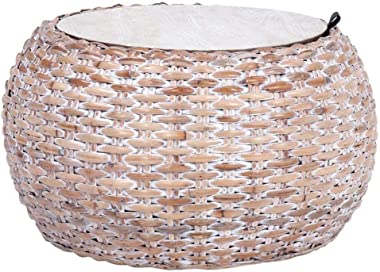 Safavieh Home Klarysa Natural White Wash Wood and Rattan Storage Coffee Table