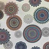 Kt KILOtela Tela de loneta resinada - Mantelería Antimanchas - 100% algodón - Retal de 200 cm Largo x 140 cm Ancho | Mandalas, Fondo Beige ─ 2 Metros