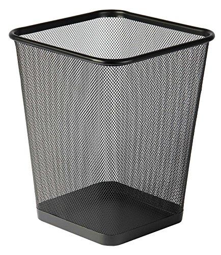 Osco WBSQ25-BLK - Papelera cuadrada de malla metalica, color negro