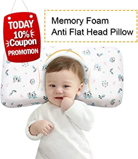 Mkicesky Baby Pillow, Memory Foam Infant Head Shaping Sleeping Pillow, Newborn Round Pillow Prevent Flat Head Syndrome for 0-3T Baby Girl & Boy with Cotton Washable Pillow Cover