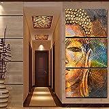 Arte de la Pared, Triple Media Cara Imagen de Buda Pintura al óleo Buda Figura Media Cara Inicio Ninguno Retrato de Cuadros 3 Unids/Set