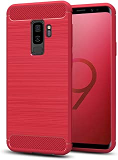 Galaxy S9+ Plus Case, Rugged Armor Case with Carbon Fiber Design, Slim Protective Shock Absorbing TPU case for Samsung Galaxy S9 Plus (2018)(Red)