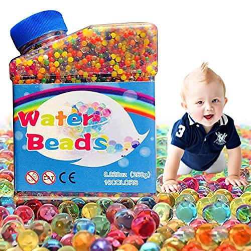 WELLXUNK Bolas de Gel de Agua, 50,000 Perlas de Agua para Niños, Perlas de Gel para Decoración, Plantas, Flores, Mezclados Cristalino Hidrogel Bolas de Gel para Decoración (A)