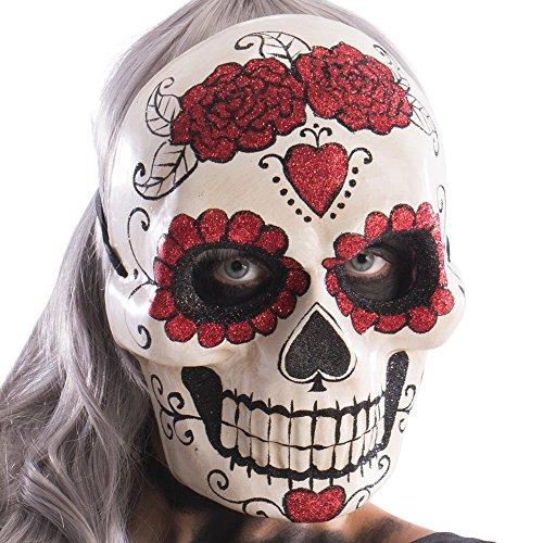 Carnival Toys- Maschera Teschio con Cuori e Rose Glitterati, Multicolore, Taglia Unica, 666