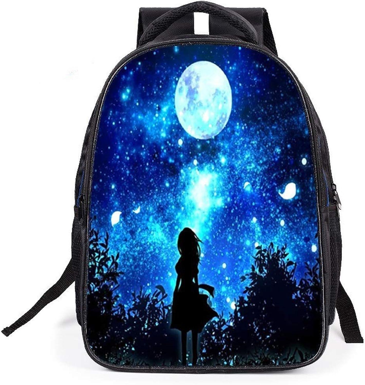 TONGSH Anime Cartoon Sternenhimmel Tasche Grundschüler Belastung rotuktion Schultaschen Kinder Persnlichkeit Kreative Rucksack Laptop Rucksack College Casual Schulrucksack Daypack (Farbe   Farbe D)