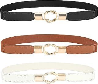 Lidiper 3 Piezas Cinturón de Las Mujeres, Cinturón Delgado de Mujer Pretina Elástico Banda de Cintura Cinturón de Cuero pa...