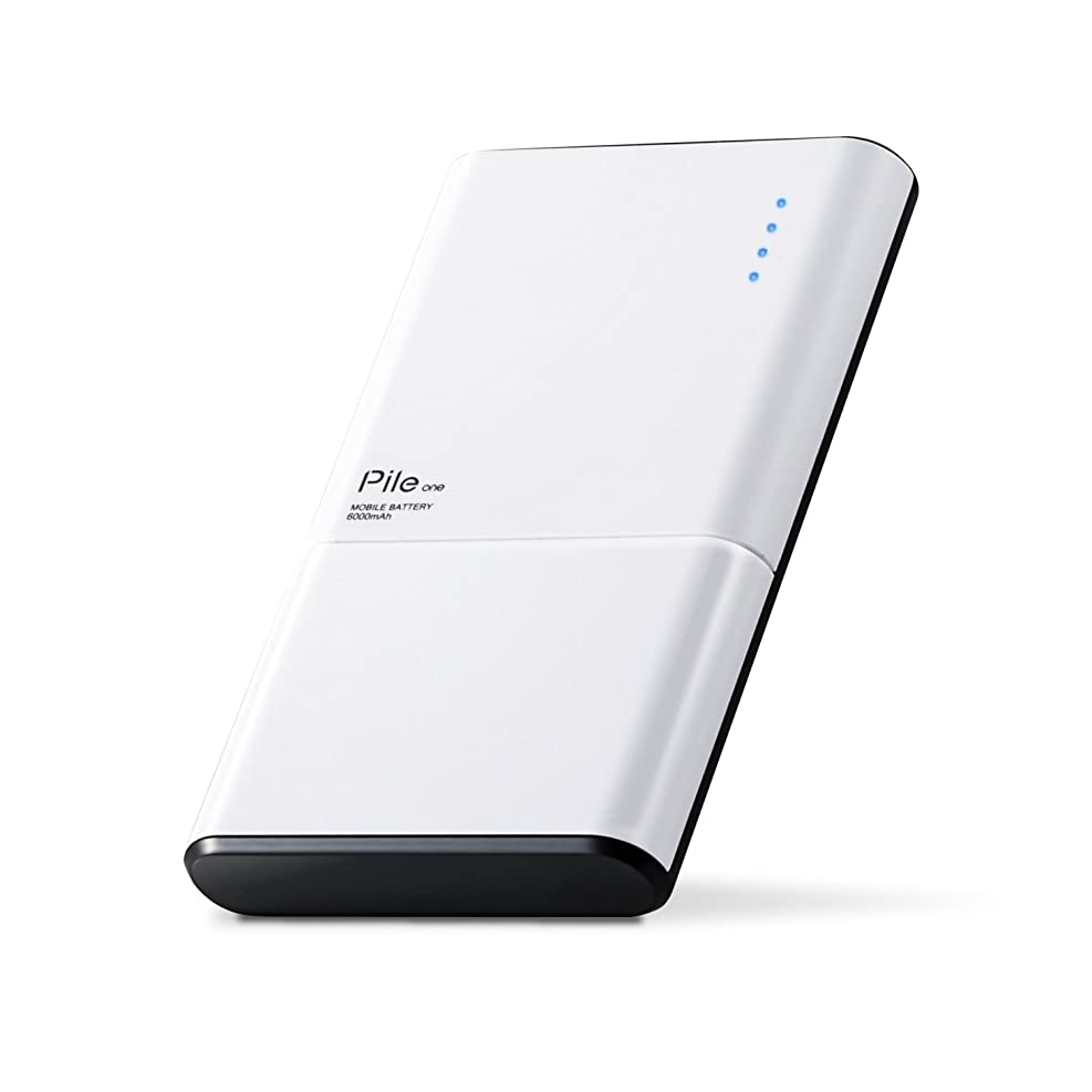 緩む会議バラバラにするエレコム モバイルバッテリー 薄型 6000mAh USBポート×2 急速充電(3.0A出力) TypeC対応【 iPhone&iPad&android&IQOS&glo 対応】Pile one ホワイト DE-M07-N6030WH
