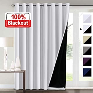 Extra Wide Blackout Curtains White 100 x 84 for Bedroom, 100% Blackout Double Layer Window Panels Thermal Insulated Energy Saving Lined Curtains for Patio Door/Living Room, Grommet Top