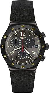 Swatch st. Steel Quartz Leather Strap, Black, 21 Casual Watch (Model: YVB410)