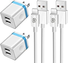 FIMARR (4-in-1 Pack) 6ft Charger Set for iPhone XS XR X, 8/7/6 Plus, iPad Air Mini Pro (Dual Port USB Wall Charger Plug + 6-Foot Fast Charging Cable) UL-Certified, Blue
