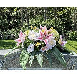 CEMETERY GRAVESTONE/HEADSTONE SILK FLOWER SADDLE ARRANGEMENT