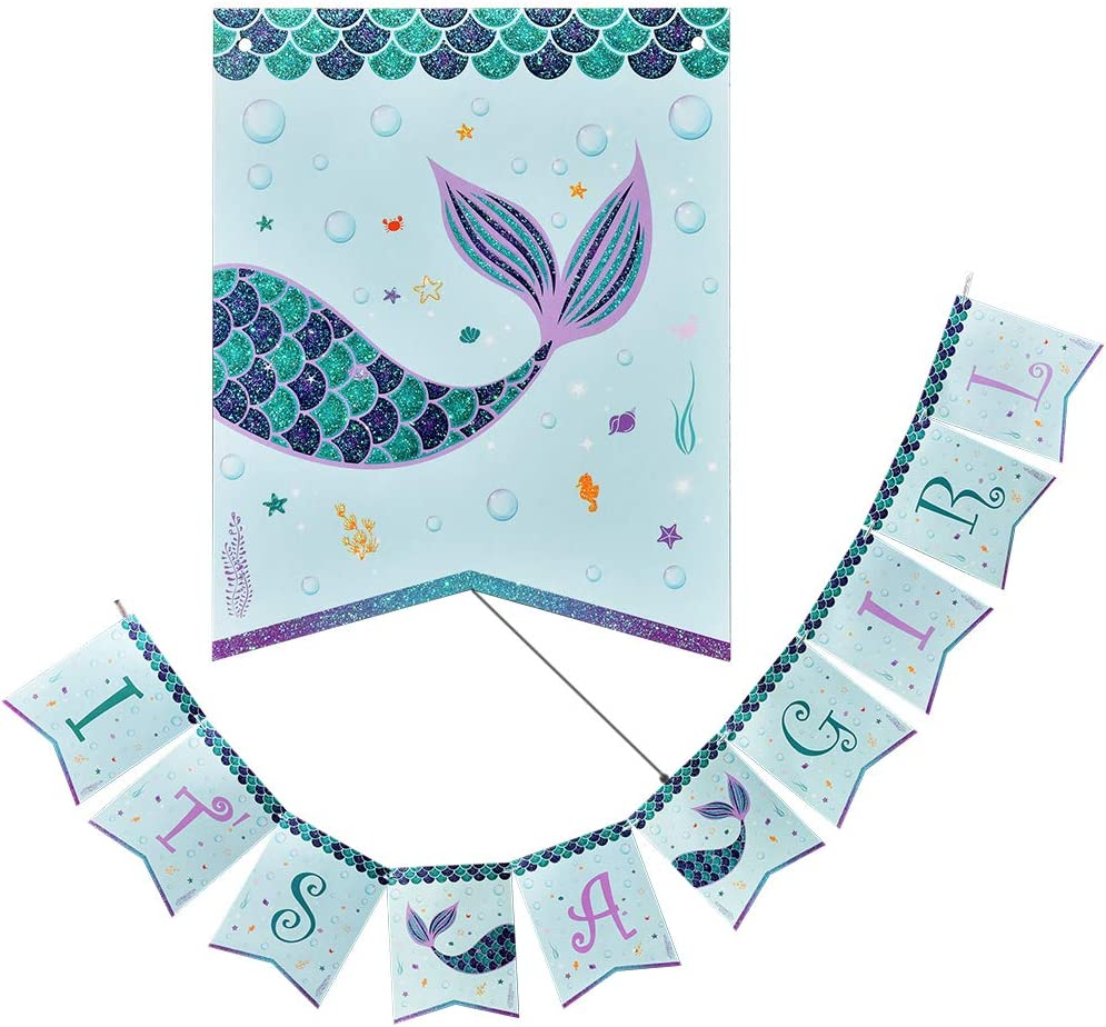 WERNNSAI Magical Daily bargain sale Mermaid Party Supplies - Banner A Bun IT'S GIRL Our shop OFFers the best service