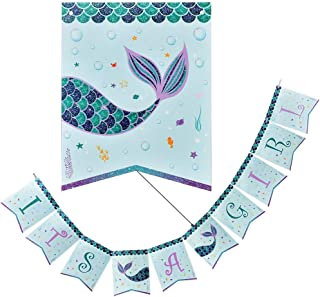 WERNNSAI Magical Mermaid Party Supplies - IT'S A GIRL Banner Bunting Baby Shower Party Decorations for Girls Pre-strung