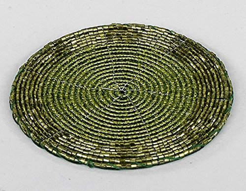 Formano 4ér Set Untersetzer 10 cm - Perlen grün mit Kratzschutz