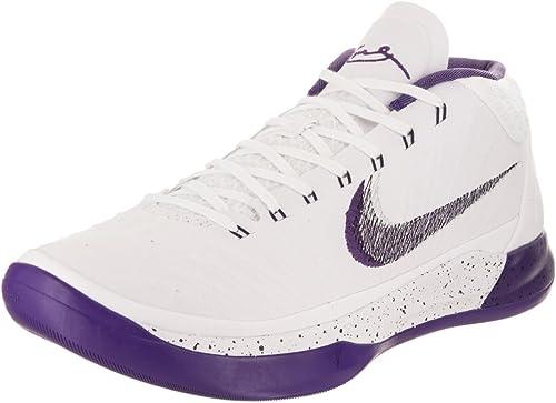 NIKE Kobe AD Mens Basketball-zapatos 922482-100_8.5 - blanco Court púrpura-negro