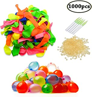 SWZY Water Balloons Refill Kits 1000 Pack Colorful Latex Bombs Water Fight Games Sports Summer Splash Fun for Kids & Adults