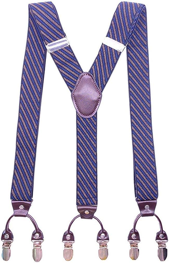 Men's Striped Y Shape Suspenders 1.4 In Width 49''Long Heavy Duty Braces&6 Clips